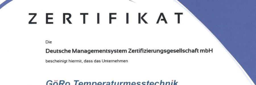 GöRo Temperaturmesstechnik GmbH auch nach der neuen DIN EN ISO 9001:2015 zertifiziert