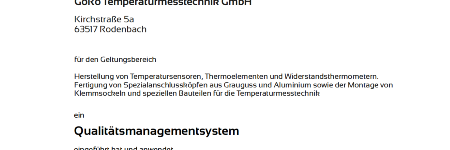 GöRo Temperaturmesstechnik GmbH nach DIN EN ISO 9001:2015 zertifiziert